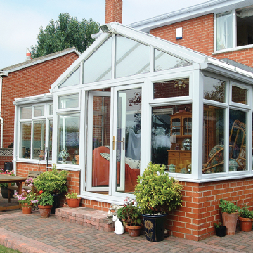 white upvc gable end conservatory