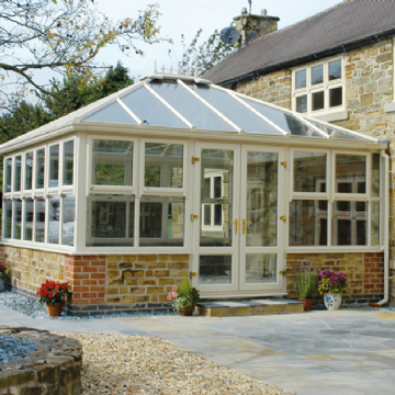 white upvc conservatory french doors